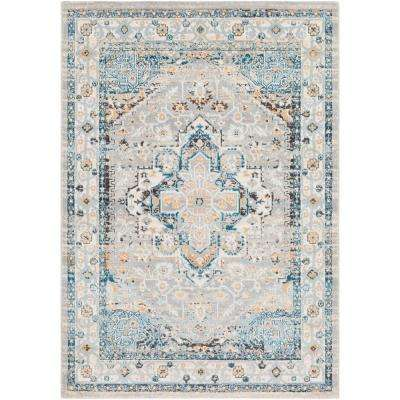 Melbourne Teal/Peach 7 ft. 10 in. x 10 ft. 3 in. Oriental Area Rug