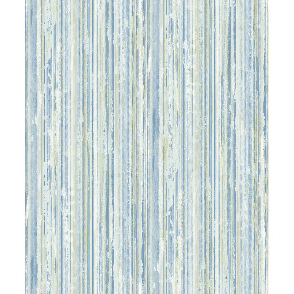Advantage 8 in. x 10 in. Savanna Blue Stripe Wallpaper Sample