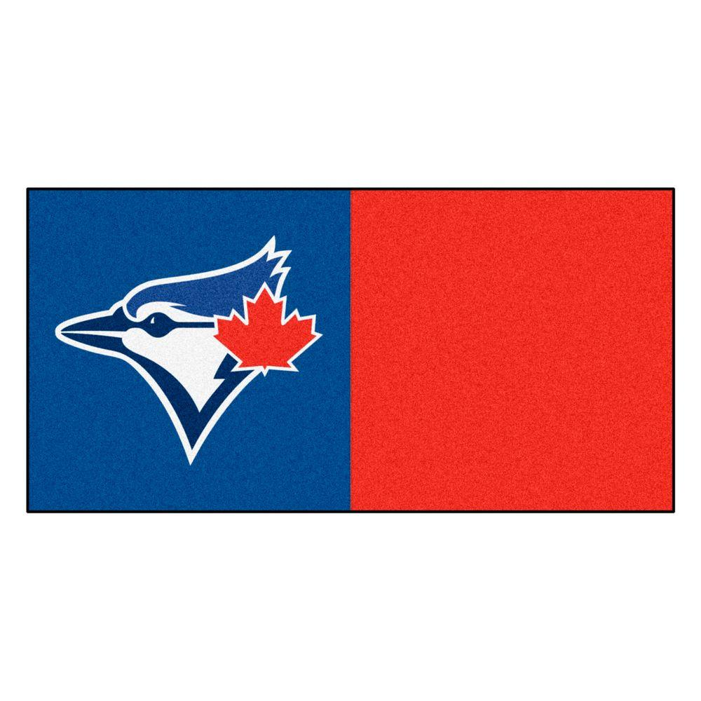 FANMATS MLB - Toronto Blue Jays Red and Blue Nylon 18 in. x 18 in. Carpet Tile (20 Tiles/Case)