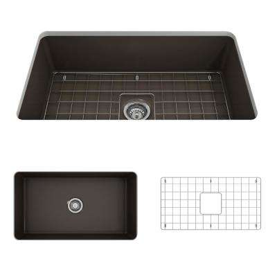 Sotto Undermount Fireclay 32 in. Single Bowl Kitchen Sink with Bottom Grid and Strainer in Matte Brown