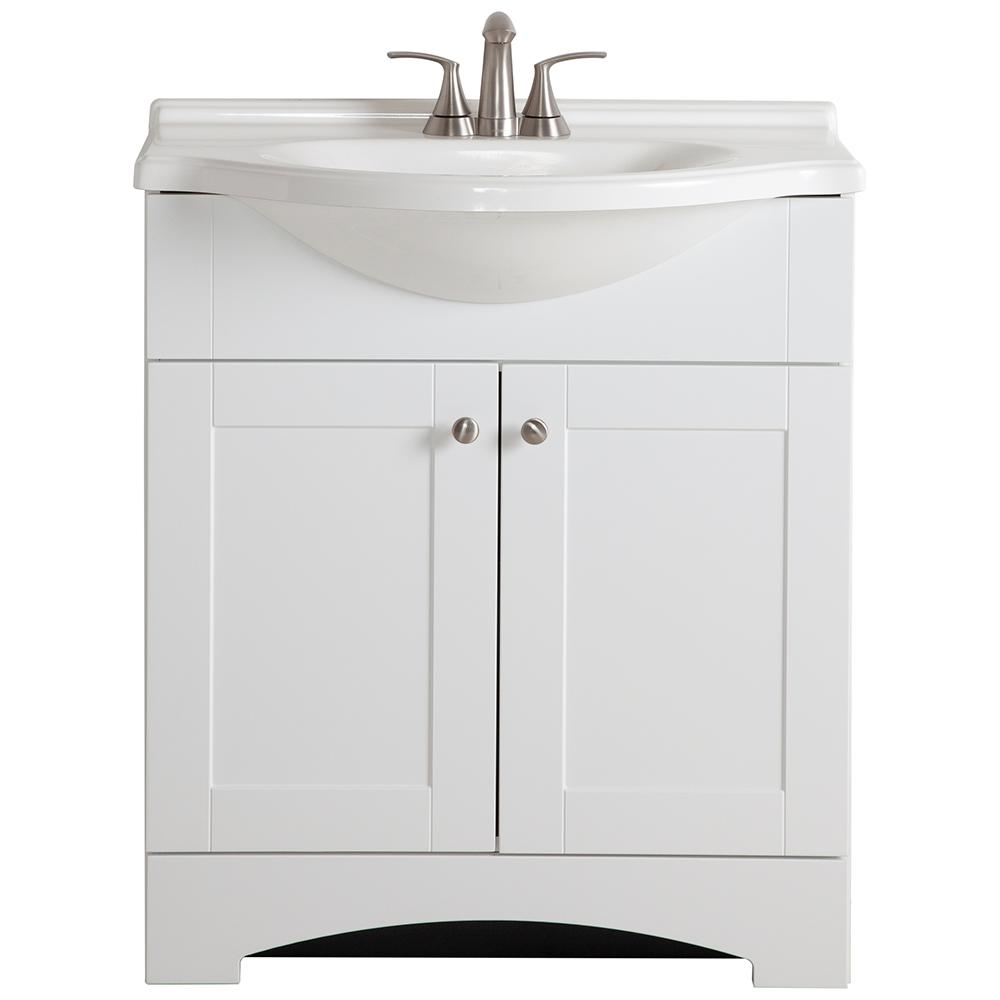Glacier Bay Del Mar 31 in. W x 19 in. D Bath Vanity in White with Vanity Top in White and MOEN Faucet