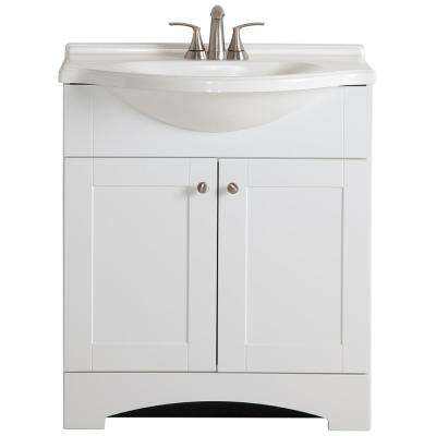 Del Mar 31 in. W x 19 in. D Bath Vanity in White with Vanity Top in White and MOEN Faucet