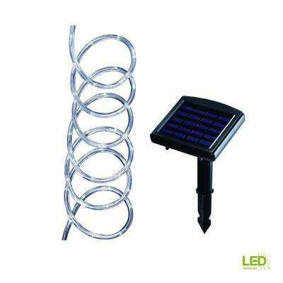 16 ft. Solar Integrated LED Clear Rope Light with Solar Panel and Stake
