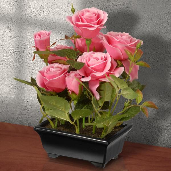 10 in.  Potted Pink Rose Flowers
