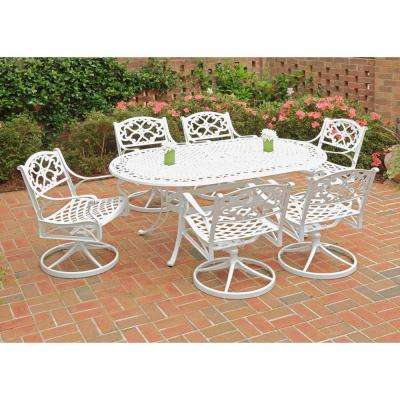 Biscayne White 7-Piece Swivel Patio Dining Set with Green Apple Cushions