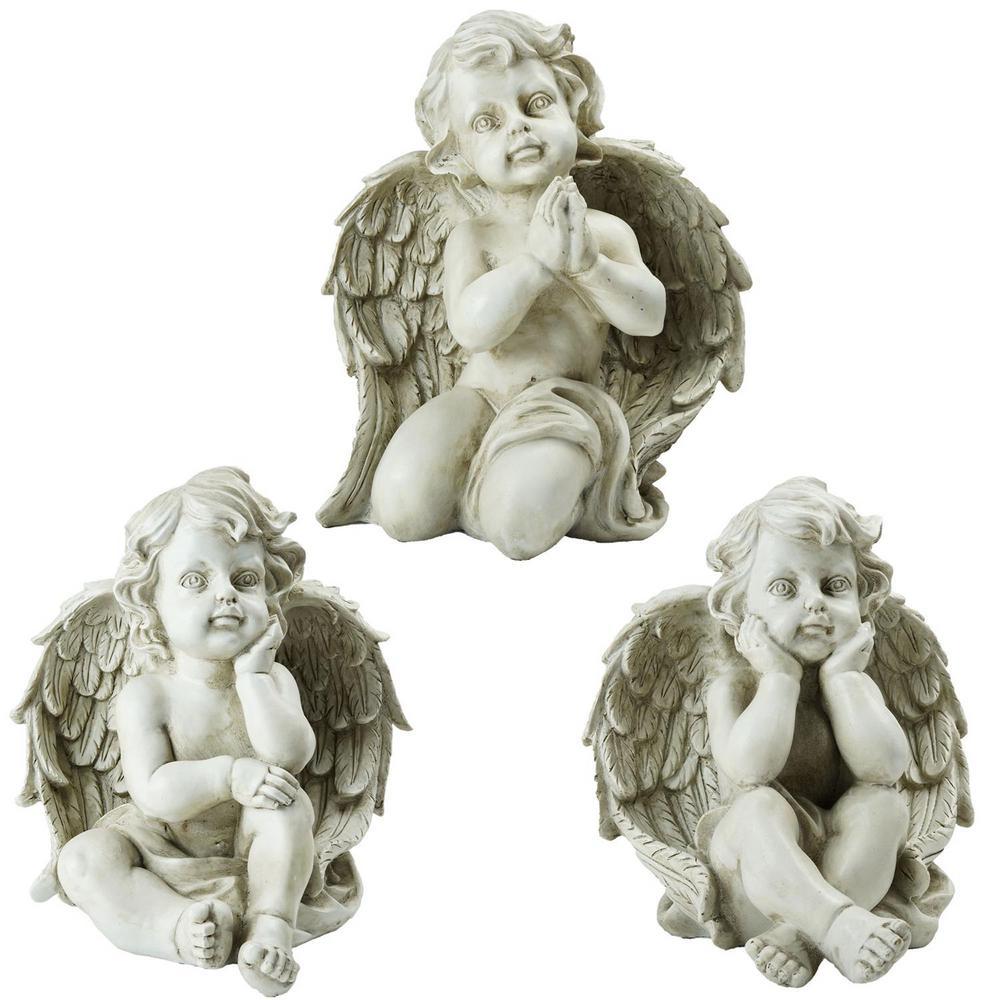 9 in. Sitting Cherub Angel Decorative Outdoor Garden Statues (Set of 3)