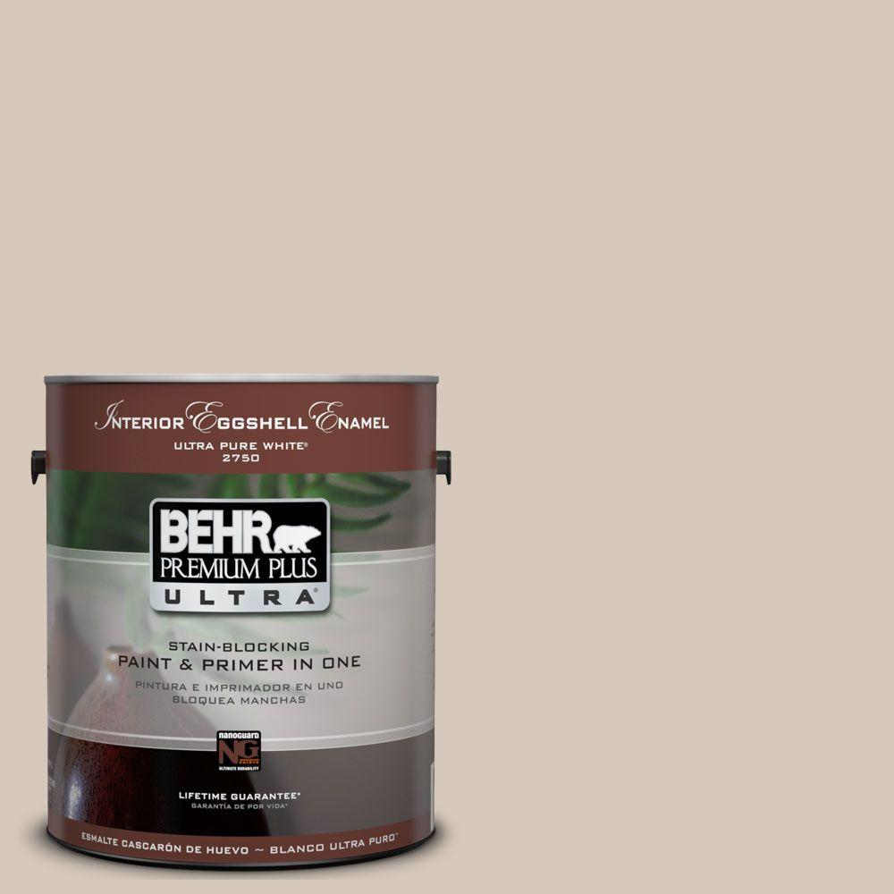 BEHR Premium Plus Ultra 1-Gal. #UL170-16 Almond Wisp Interior Eggshell Enamel Paint
