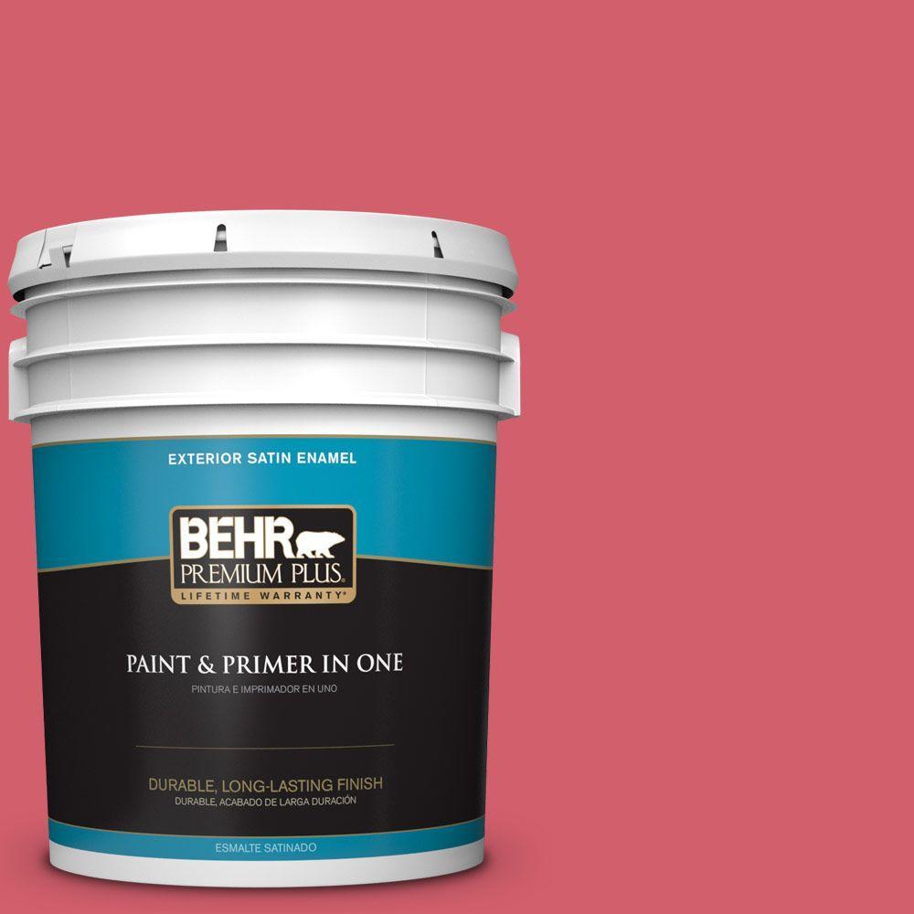 BEHR Premium Plus 5-gal. #140B-6 Italiano Rose Satin Enamel Exterior Paint