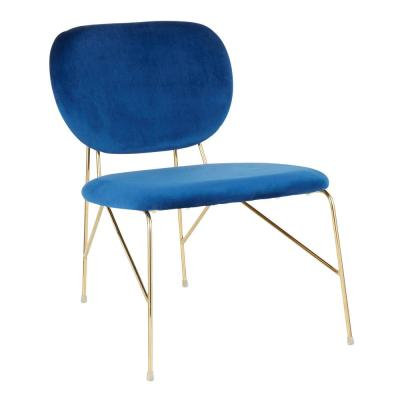 Gwen Gold and Blue Velvet Accent Chair