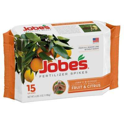 4 lb. Fruit and Citrus Fertilizer Spikes with Biozome, (15-Pack)