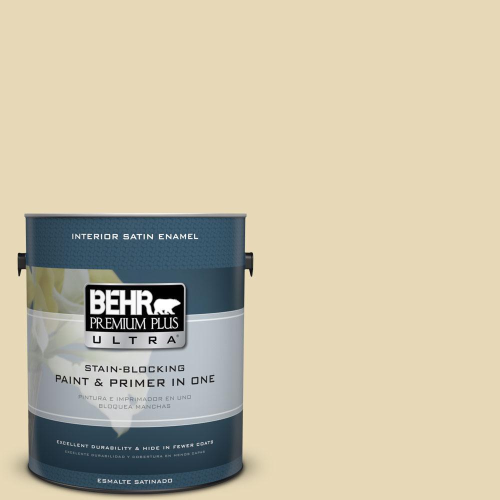 BEHR Premium Plus Ultra 1-Gal. #PPU8-13 Lemon Balm Satin Enamel Interior Paint