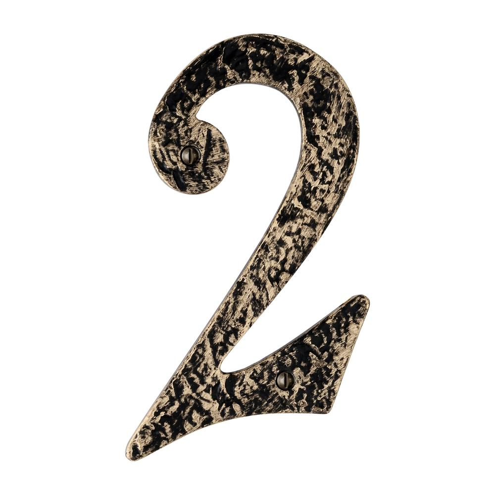 Hammered 6 in. Antique Brass House Number 2