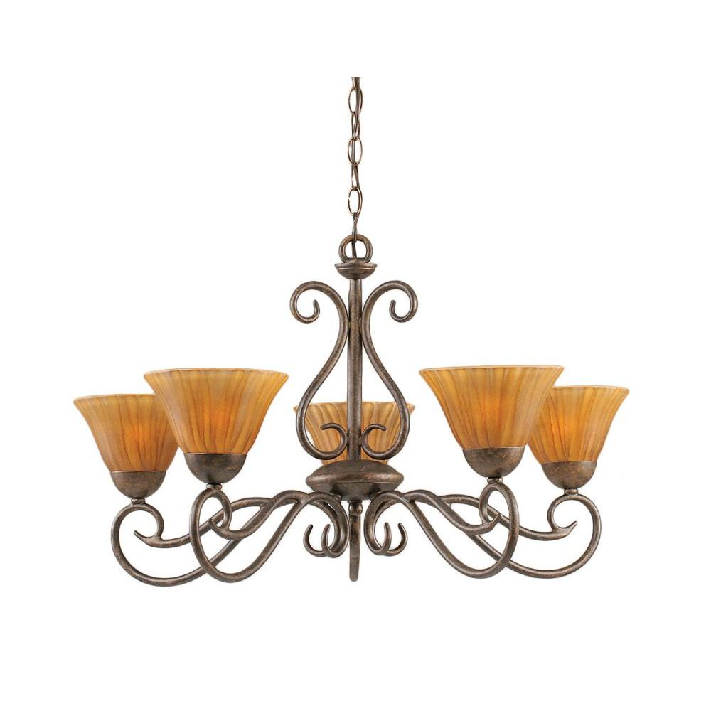 Filament Design Concord 5 Light 28.5 in. Bronze and Tiger Glass Chandelier-DISCONTINUED