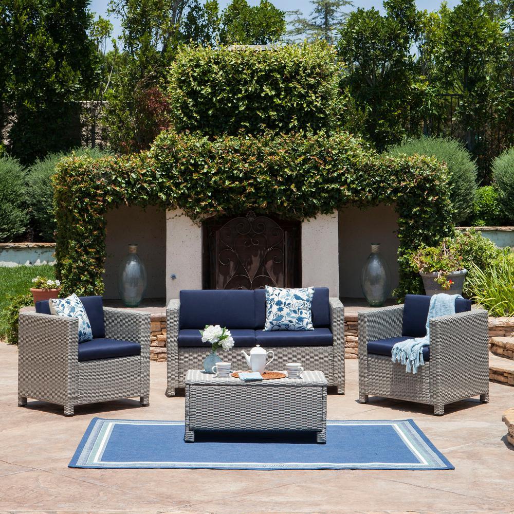 Fernanda Chalk 4-Piece Wicker Patio Conversation Set with Navy Blue Cushions