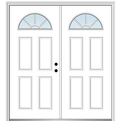 60 in. x 80 in. White Internal Grilles Left-Hand Inswing Fan Lite Clear Painted Fiberglass Smooth Prehung Front Door