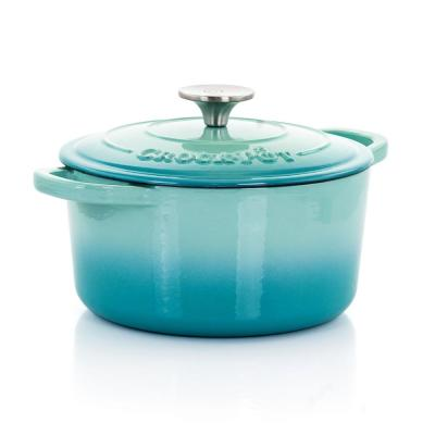 Artisan 3 qt. Round Cast Iron Nonstick Dutch Oven in Aqua Blue with Lid