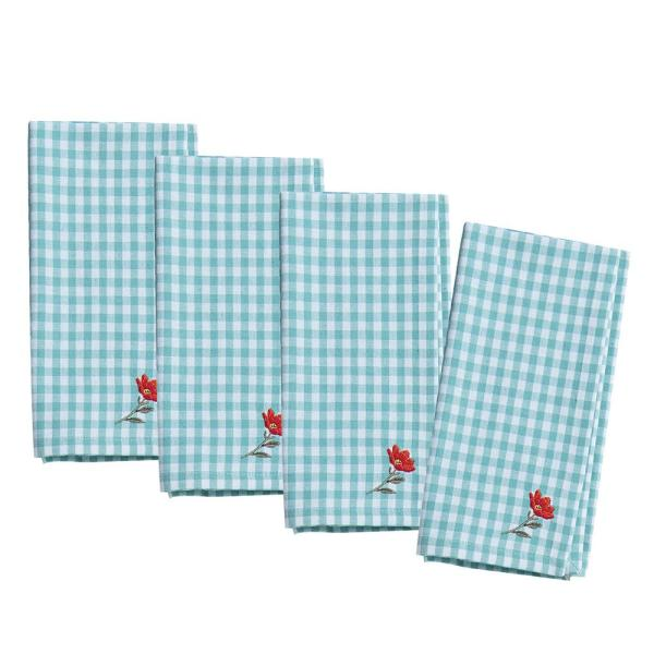 Blooming Thoughts 20 in. x 20 in. Blue and White Embroidered Gingham Cotton Napkins (4-Pack)