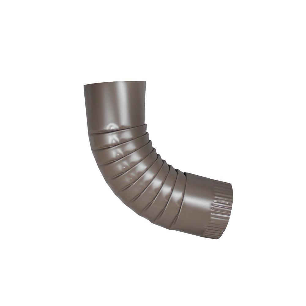 4 in. Round Musket Brown Aluminum Downpipe Elbow