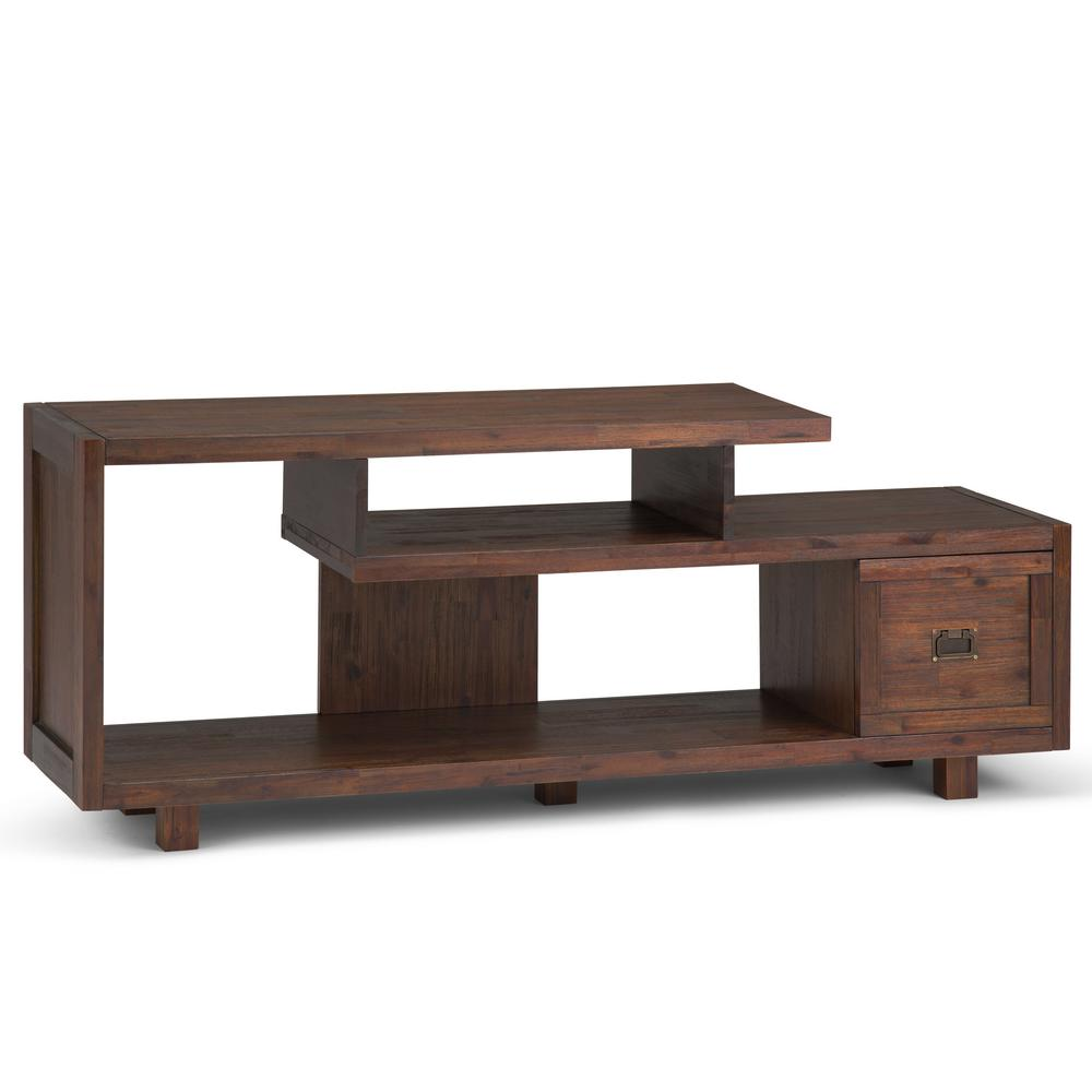 Simpli home monroe distressed charcoal brown 60 in tv stand