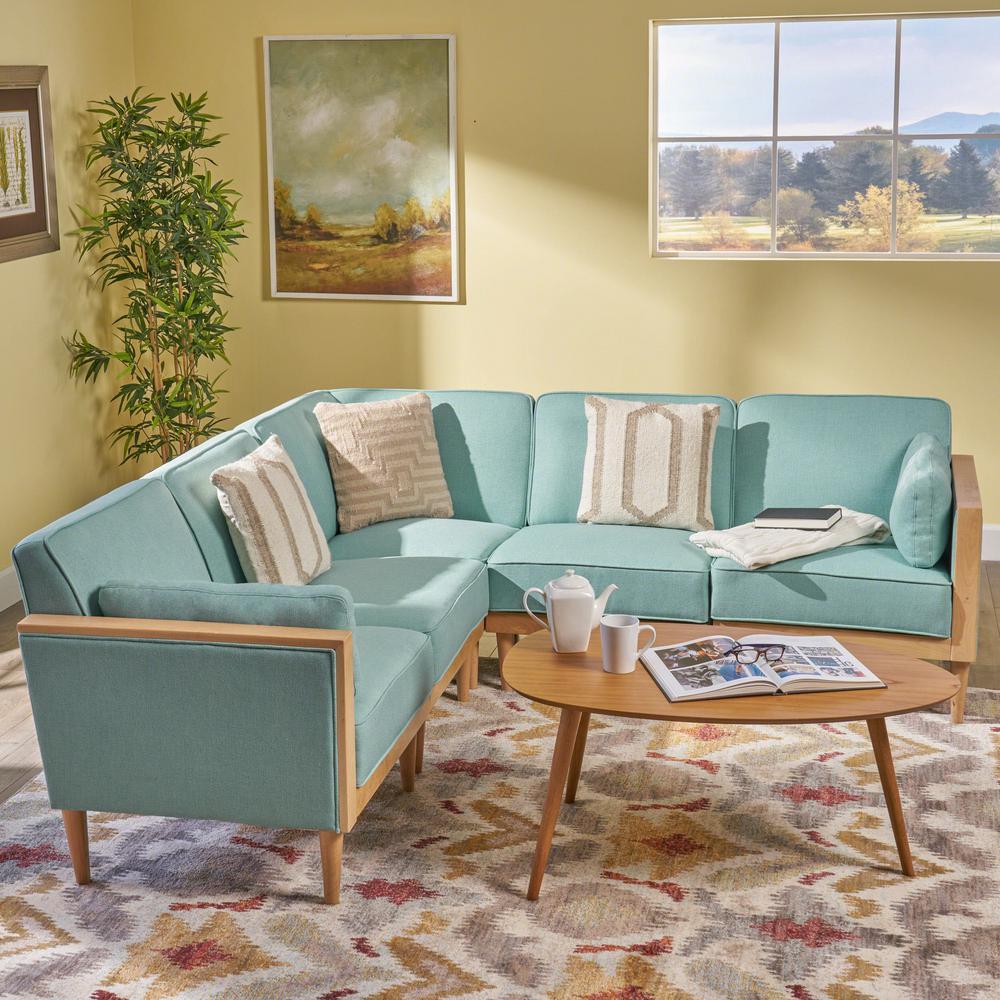 Sensational Noble House Pembroke Contemporary 5 Piece Sky Blue Fabric Dailytribune Chair Design For Home Dailytribuneorg