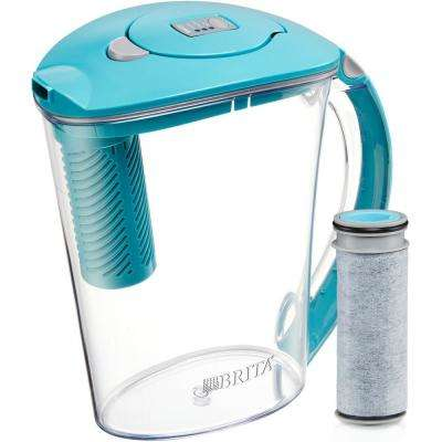 Stream Rapids 10-Cup Filter as You Pour Water Filter Pitcher in Lake Blue
