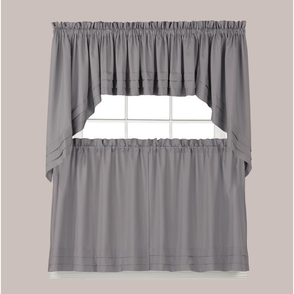Saturday Knight Holden 13 in. L Polyester Valance in Dove Grey