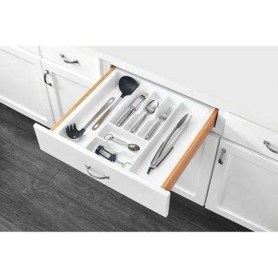 2.375 in. H x 21.875 in. W x 21.25 in. D Extra Large White Cutlery Tray Drawer Insert