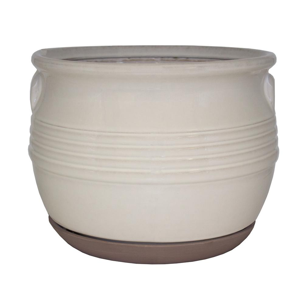 D White Ceramic Milk Jar Basin Planter