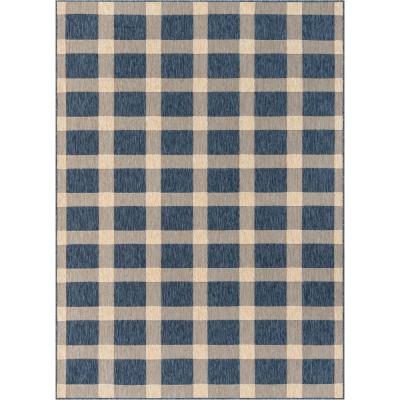 Medusa Freya Blue Checkered 7 ft. 10 in. x 9 ft. 10 in. Indoor/Outdoor Area Rug