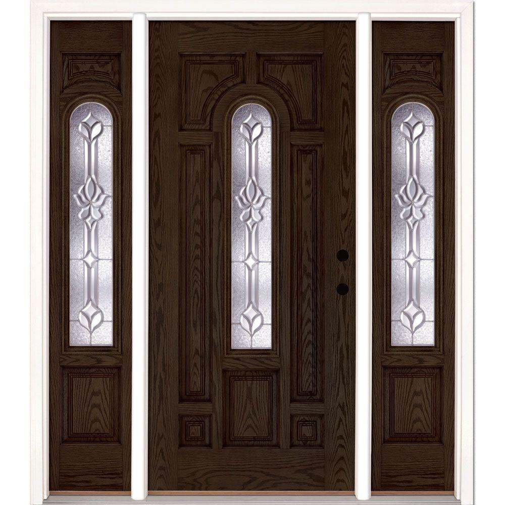 63.5 in.x81.625 in. Medina Zinc Center Arch Lite Stained Walnut Oak