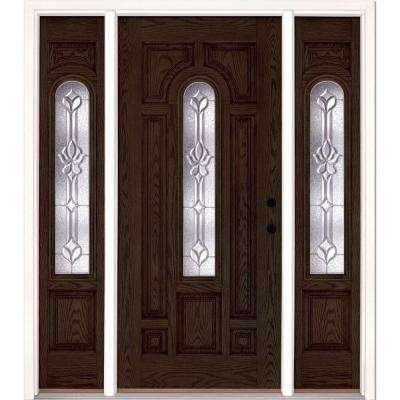 63.5 in.x81.625 in. Medina Zinc Center Arch Lite Stained Walnut Oak Left-Hand Fiberglass Prehung Front Door w/ Sidelites