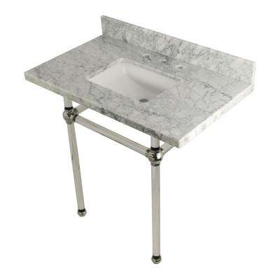Square Sink Washstand 36 in. Console Table in Carrara Marble with Acrylic Legs in Polished Nickel
