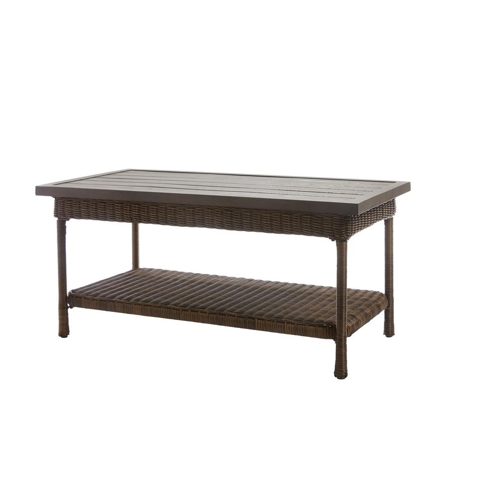 Hampton Bay Beacon Park Wicker Outdoor Coffee Table With