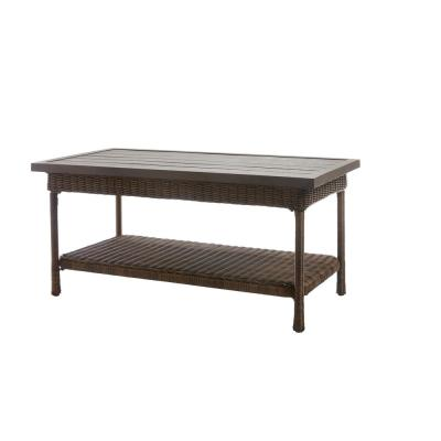 Beacon Park Wicker Outdoor Patio Coffee Table with Slat Top