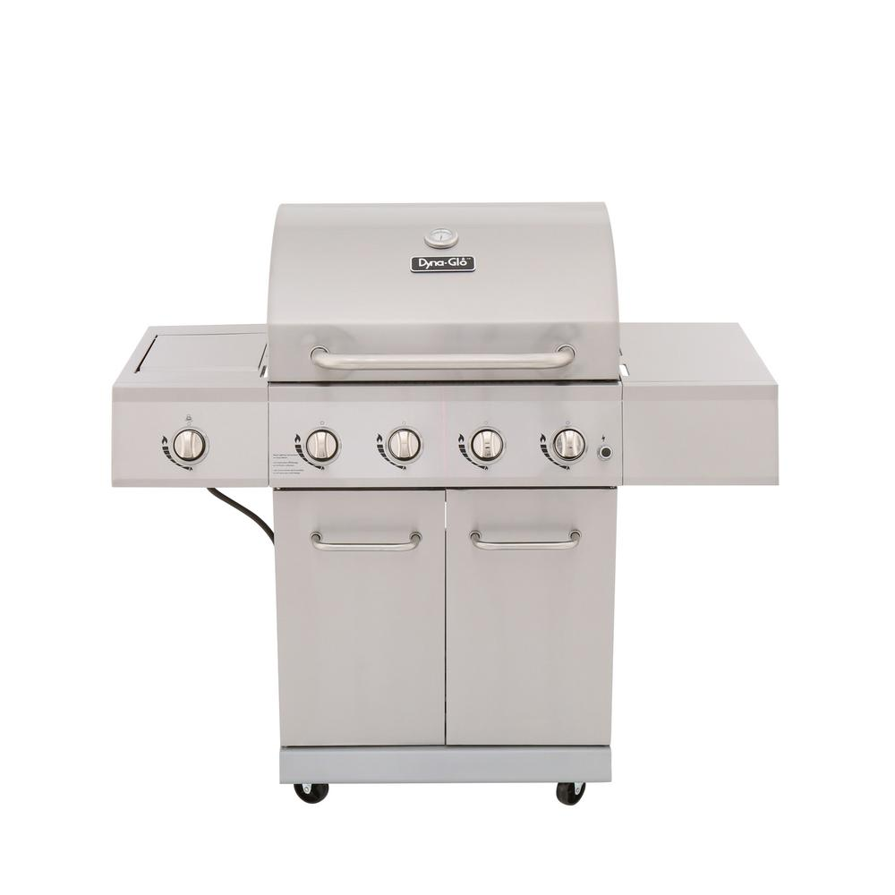 Dyna-Glo 4-Burner Propane Gas Grill in Stainless Steel with Side Burner