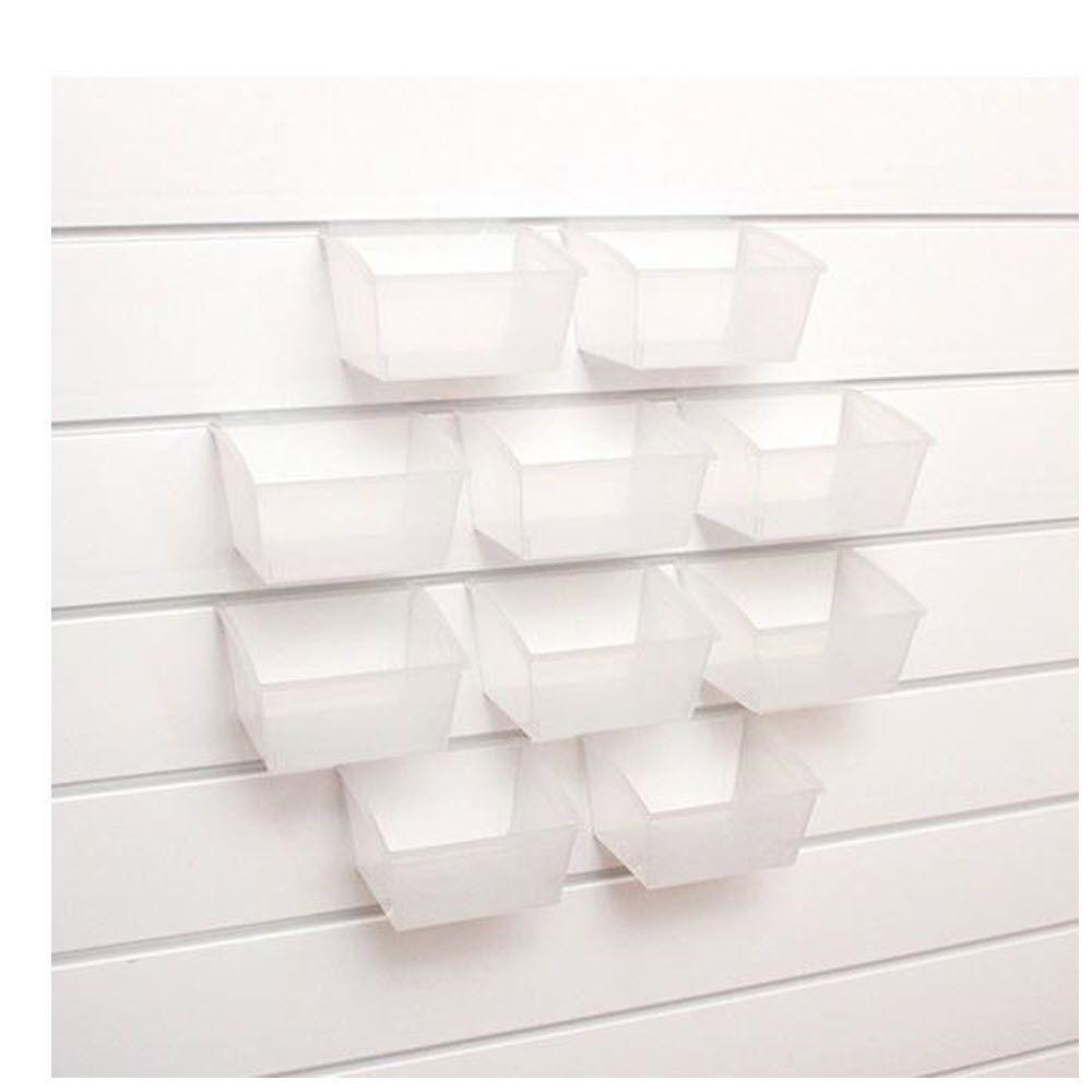 Martha Stewart Living Garage 4 in. H x 5.5 in. sq. 33 lbs. Slat Wall Bins in Clear (Set of 10)
