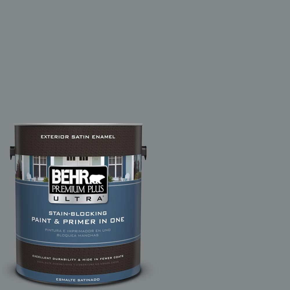 1 gal. #N500-5 Magnetic Gray Color Satin Enamel Exterior Paint