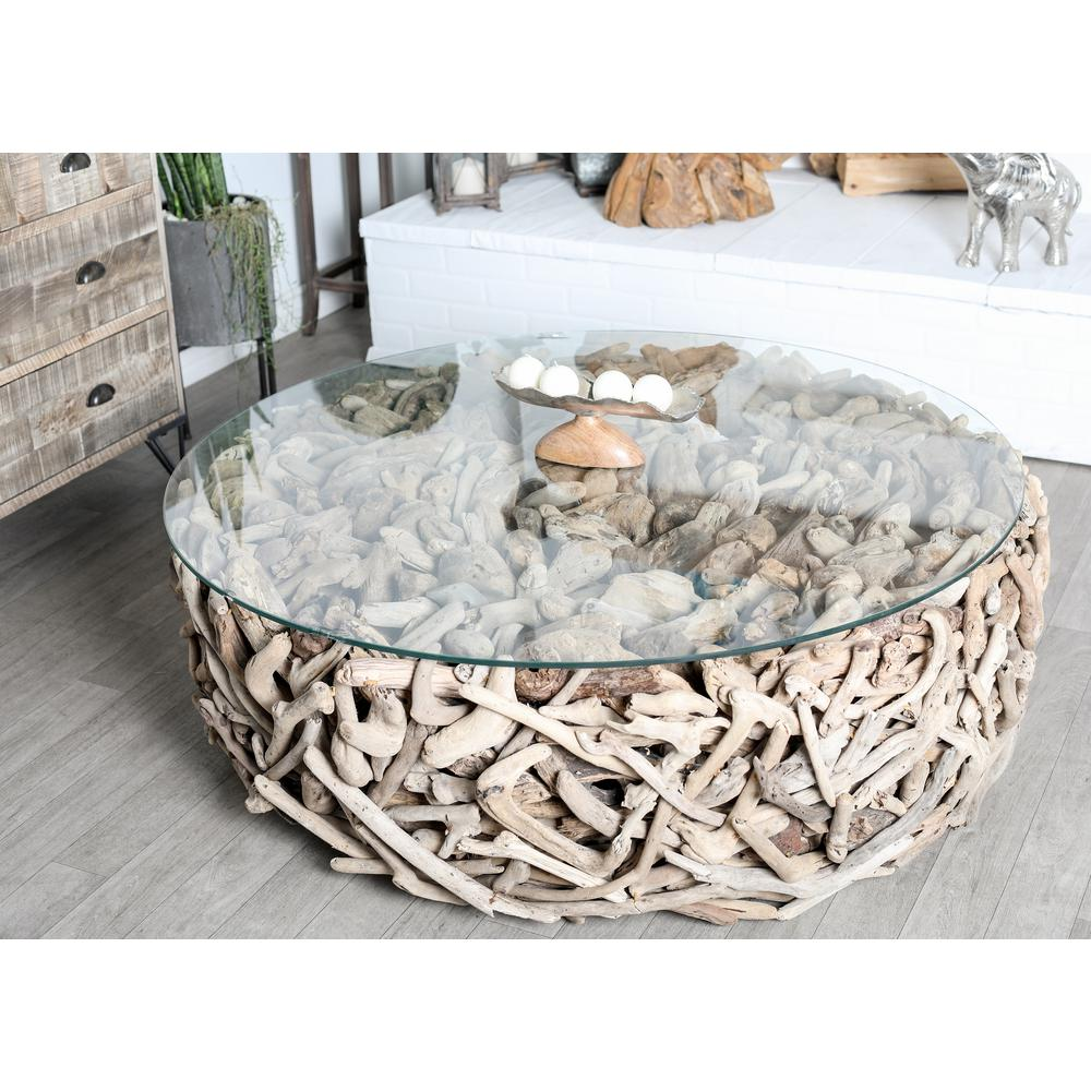 Litton Lane Brown Round Driftwood Twigs And Glass Coffee Table 64031