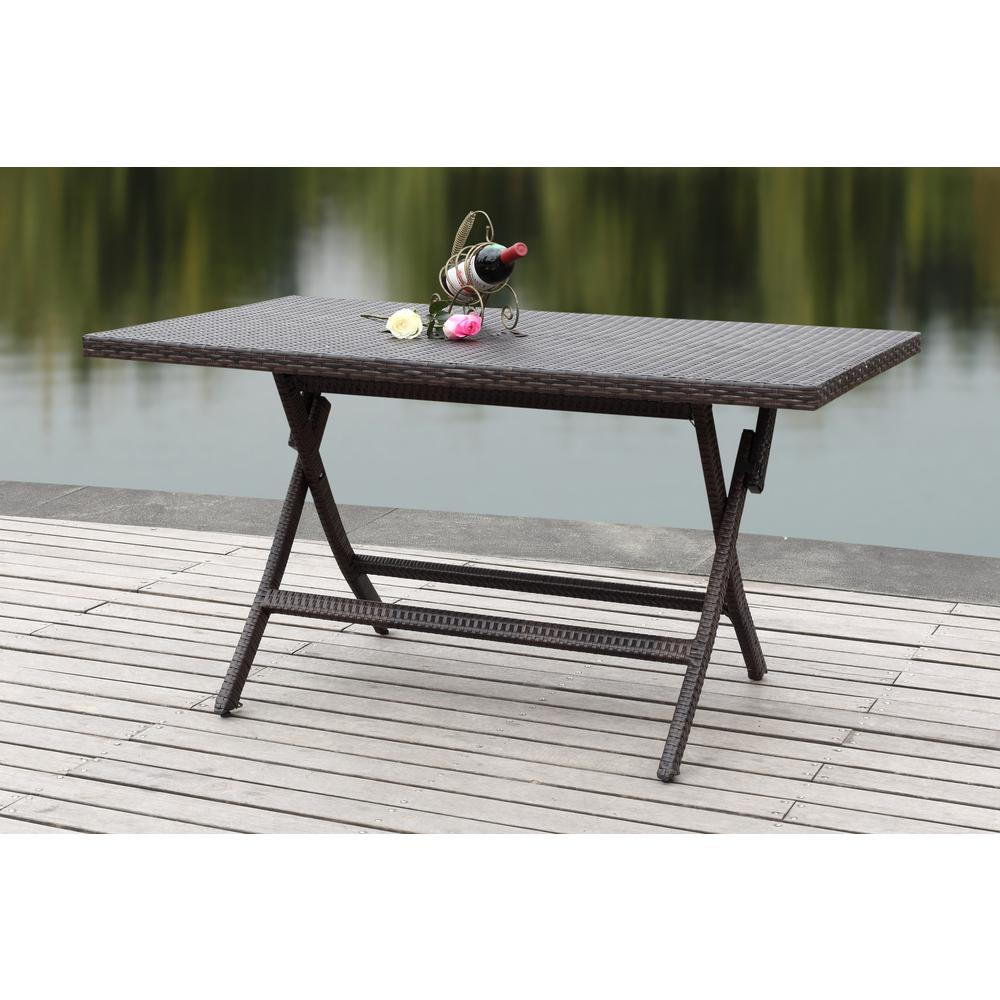 Dilettie brown rattan folding patio dining table