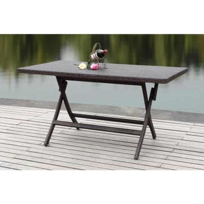 Dilettie Brown Rectangle Folding Rattan Outdoor Dining Table