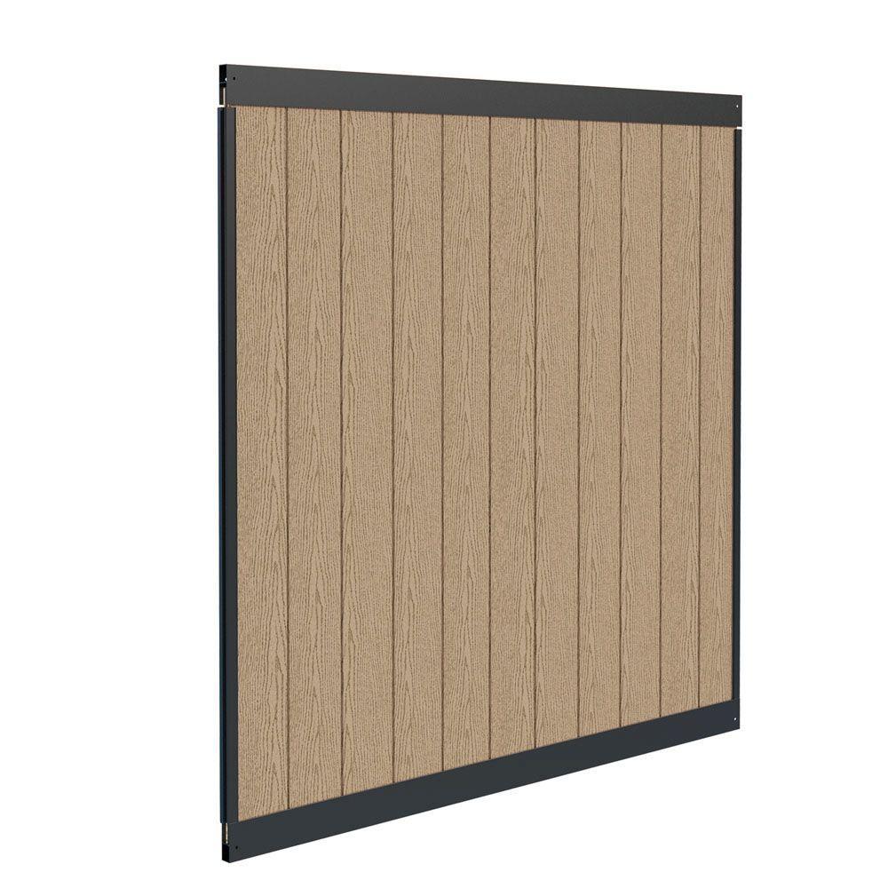 Urban 6 ft. H x 6 ft. W Birchwood Vinyl and Matte Black Aluminum Privacy Fence Panel Kit