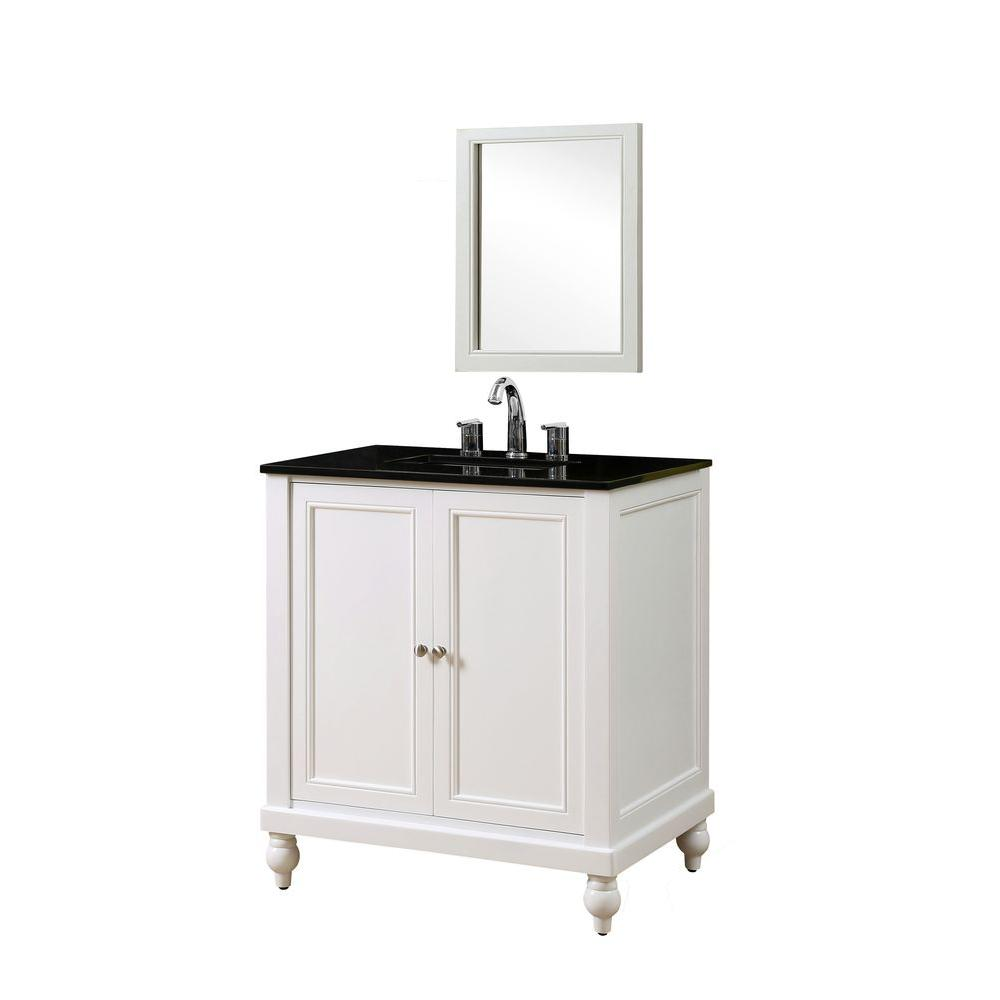 Direct vanity sink Classic 32 in. Vanity in Pearl White with Granite Vanity Top in Black with White Basin and Mirror