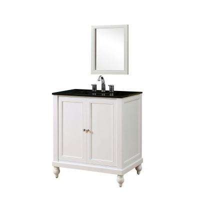 Classic 32 in. Vanity in Pearl White with Granite Vanity Top in Black with White Basin and Mirror