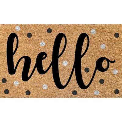 Aspen Hello Dots 18 in. x 30 in. Door Mat