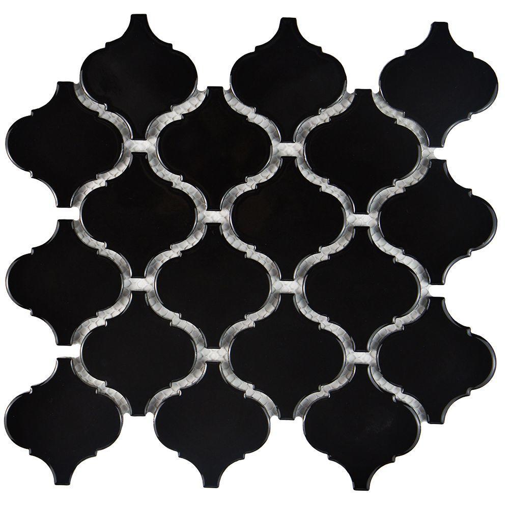 Metro Lantern Glossy Black 9-3/4 in. x 10-1/4 in. x 6 mm Porcelain Mosaic Tile