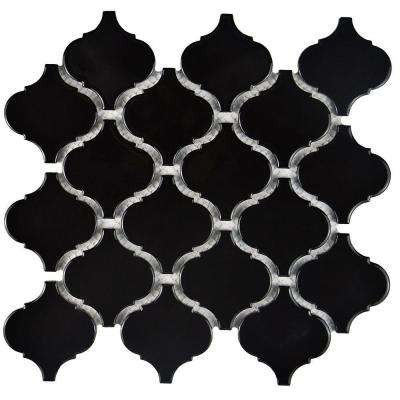 Metro Lantern Glossy Black 9-3/4 in. x 10-1/4 in. x 6 mm Porcelain Mosaic Tile