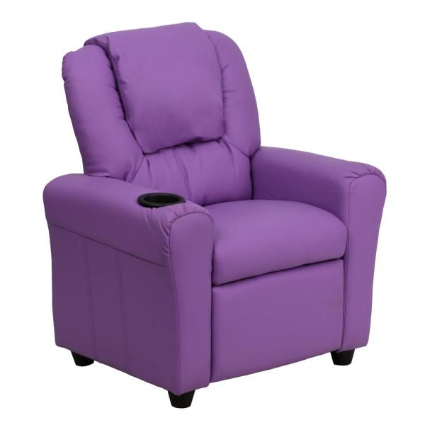 Flash Furniture Contemporary Lavender Vinyl Kids Recliner With Cup
