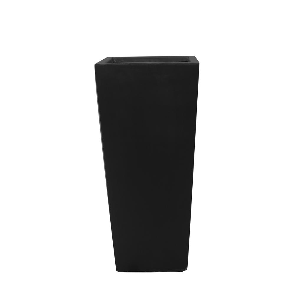 MPG 30 in. H Composite Tall Tapered Square Planter in Matte Black