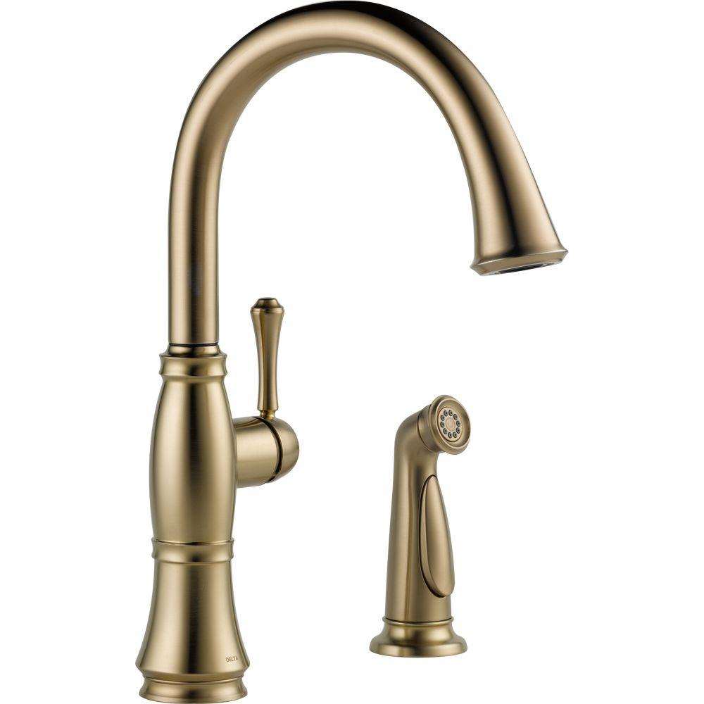 Cassidy Single-Handle Standard Kitchen Faucet with Side Sprayer in Champagne