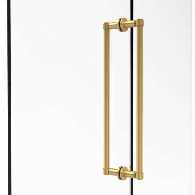 Contemporary 18 in. Back-to-Back Shower Door Pull in Unlacquered Brass
